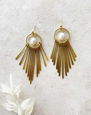 Thebes Pearl & Brass Fringe Earrings