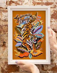 Gimme Danger Tiger A4 Print by Eleanor Bowmer