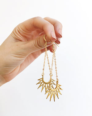 Sulis Sun Pendant and Alectrona Sunburst Earrings