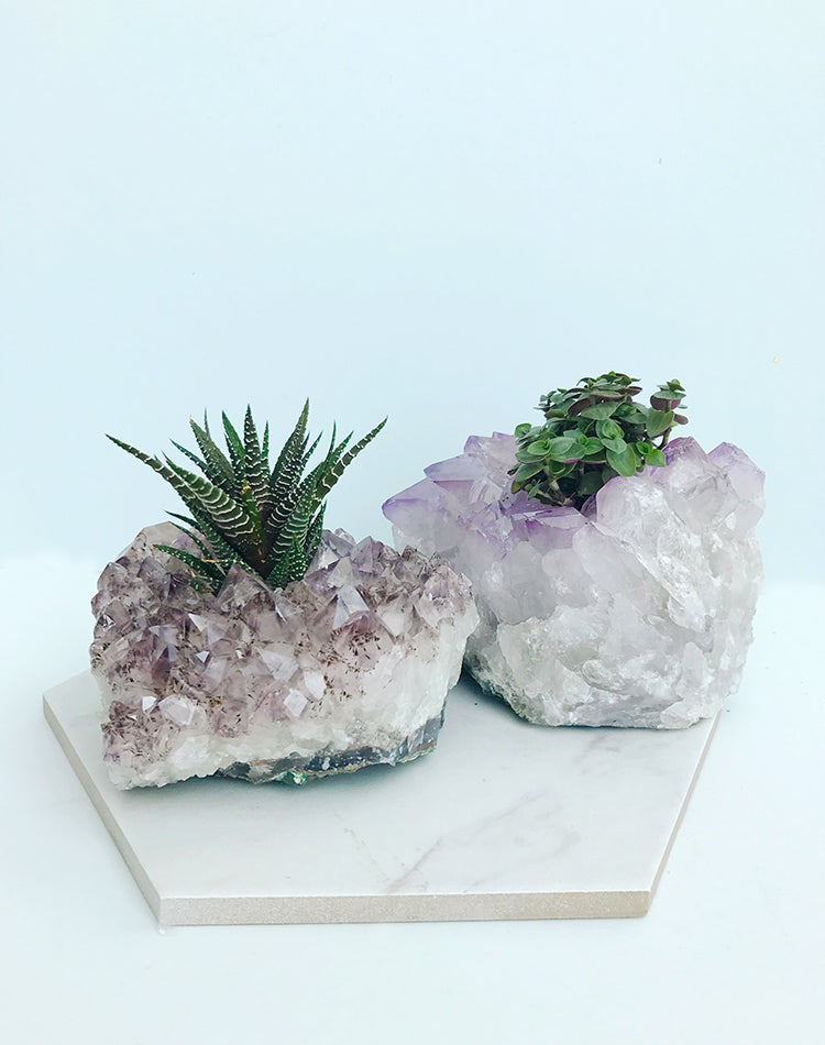 Amethyst Crystal Cluster Tealight Holder