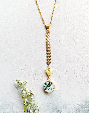Arbor Long Tree Agate Necklace