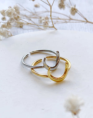Arc Crescent Moon Adjustable Ring