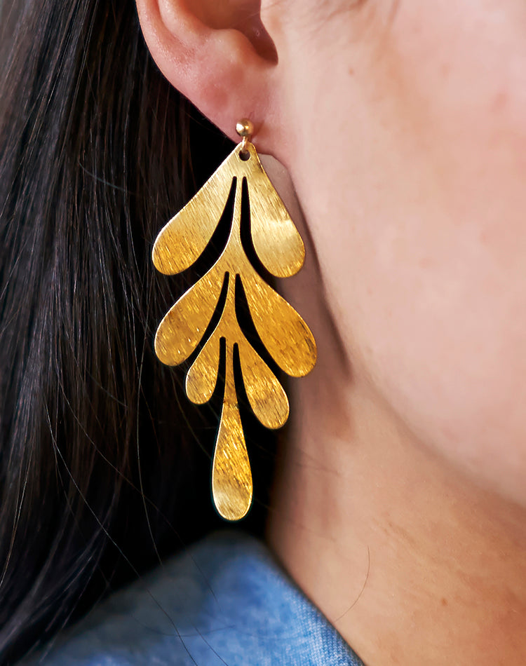Athena Golden Leaf Earrings