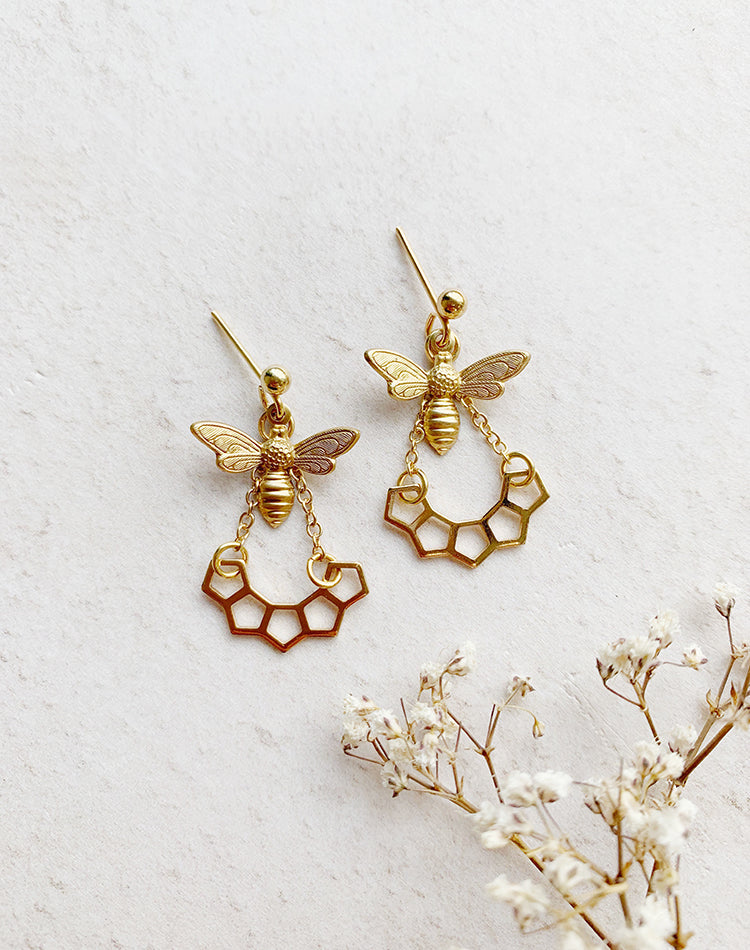 Bumble - Bee Honeycomb Stud Earrings
