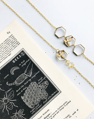 Hive and Seek Bee & Honeycomb Hexagon Necklace