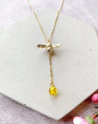 Beelieve Bumble Bee And Amber Drop Necklace