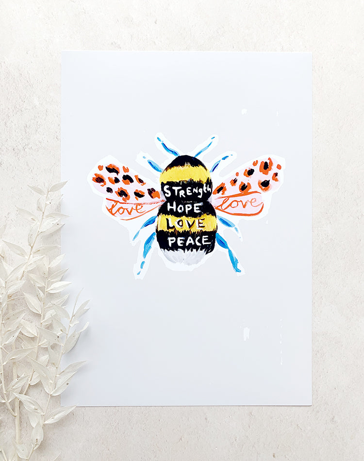 Bee A4 Print by Eleanor Bowmer