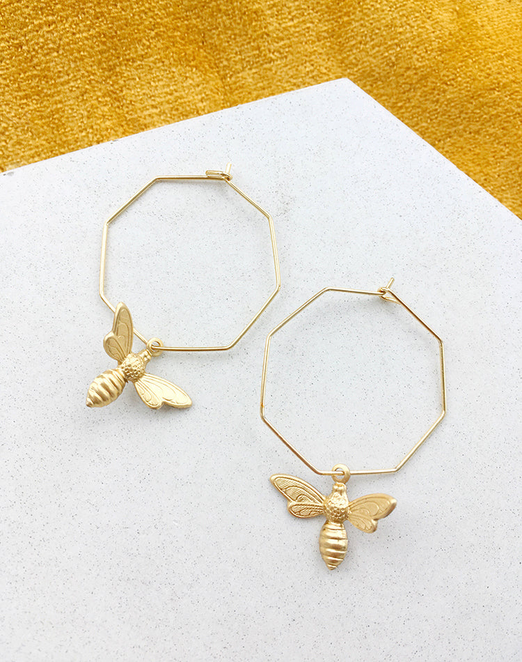 Best Beehive-iour Bee & Honeycomb Hoop Earrings