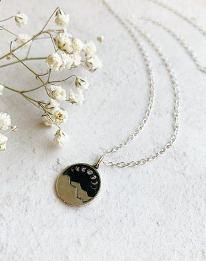 Beyond Sterling Silver Moon Phase and Mountain Range Pendant