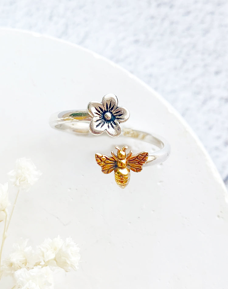 Blossom Sterling Silver Adjustable Bee Ring
