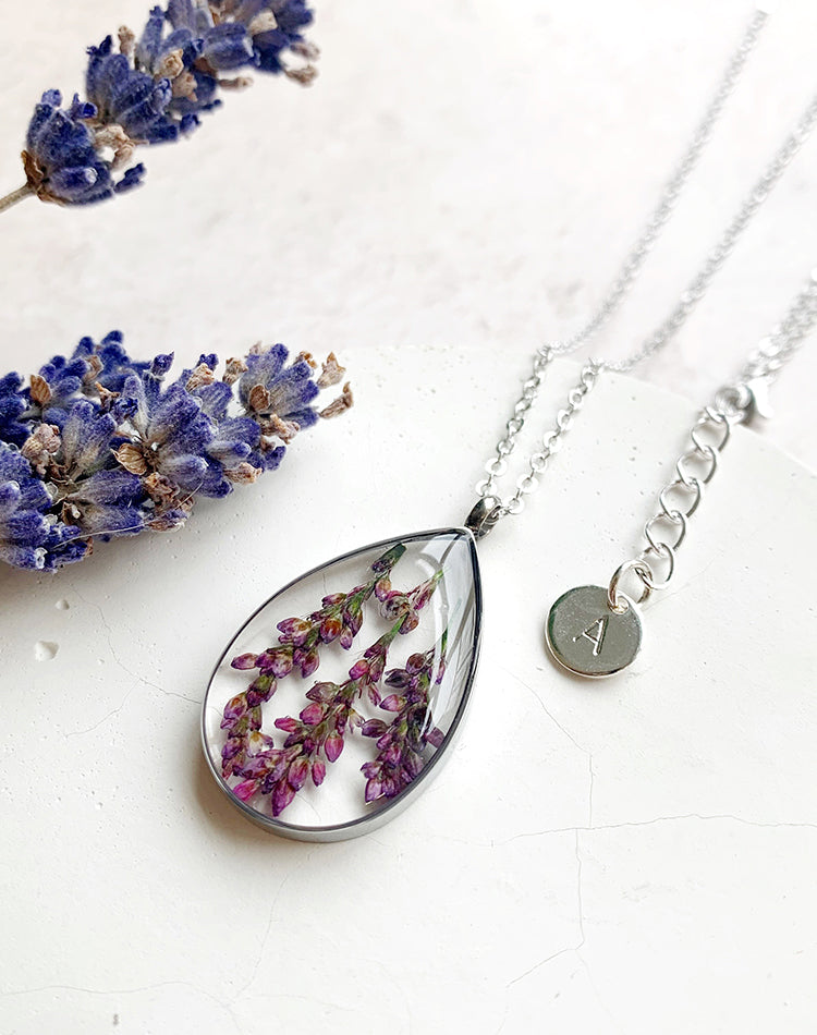 Bud Personalised Pressed Lavender Necklace