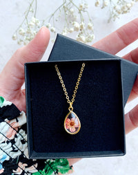 Bud Personalised Pink Pressed Flower Necklace