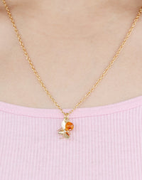Bumbling Along Bee And Amber Necklace