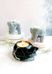 Black Marble Cat Tealight Holder