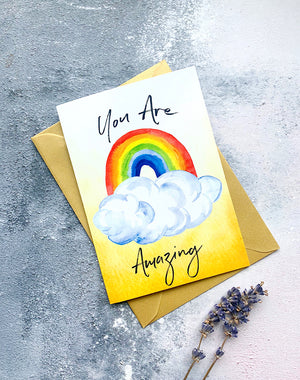 You Are Amazing - Rainbow greetings card
