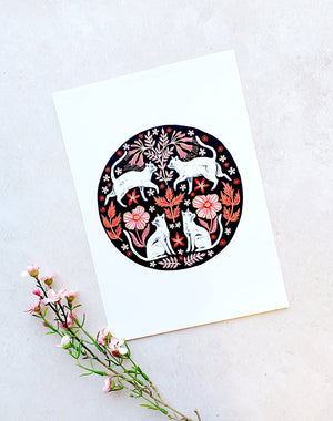 Cats Circle Print by Papio Press