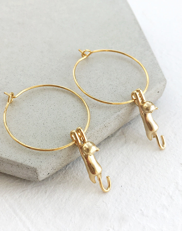 Oh, Paw-lease Cat Hoop Earrings