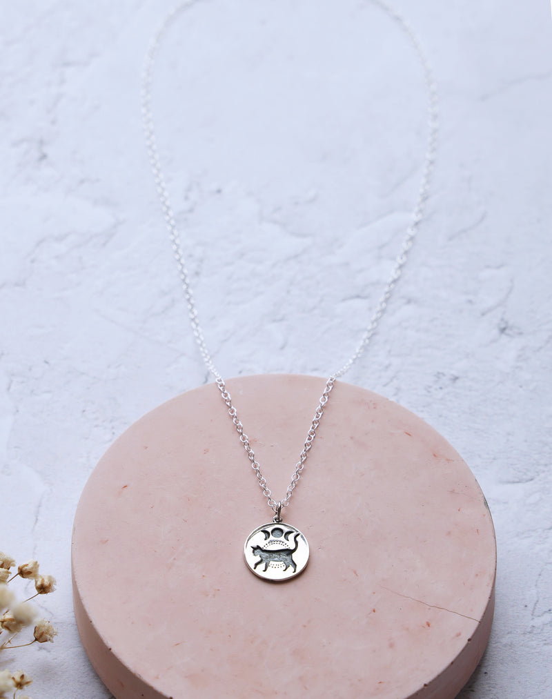 Shadow Sterling Silver Cat & Moon Necklace