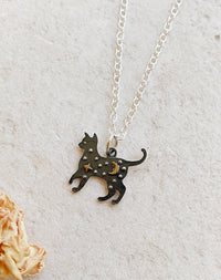 Nocturnal: Night Sky Cat Sterling Silver Necklace