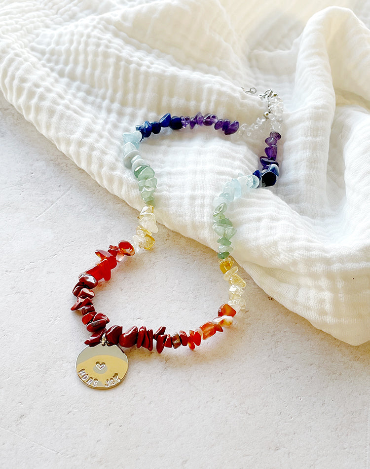 Chakra: Positive Mantra Rainbow Gemstone Necklace