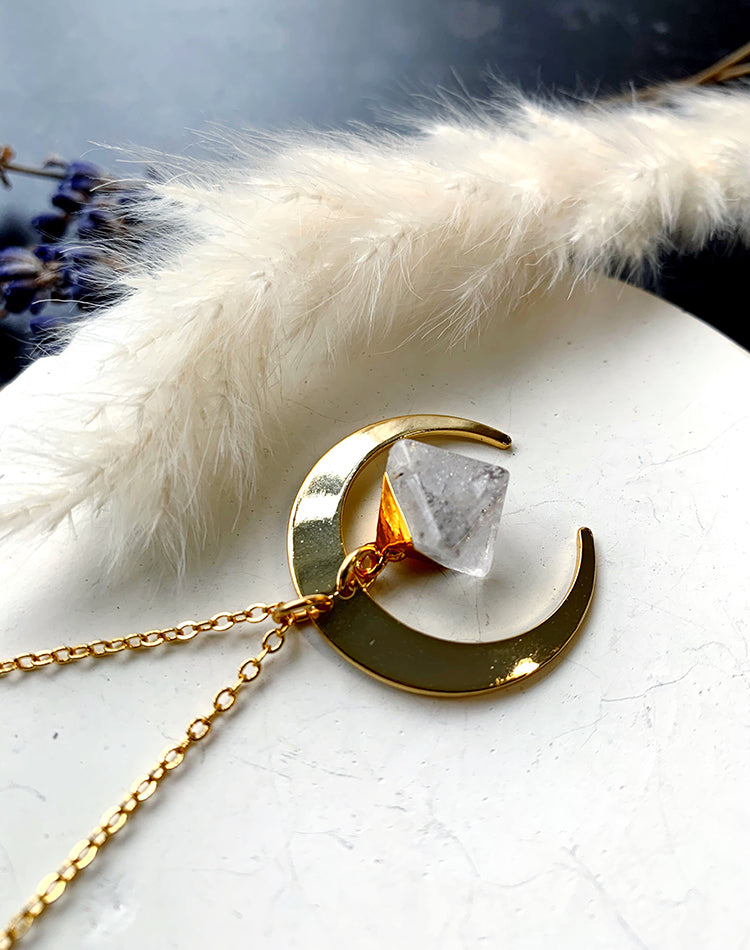 Charge - Gold Crescent and Quartz Crystal Necklace