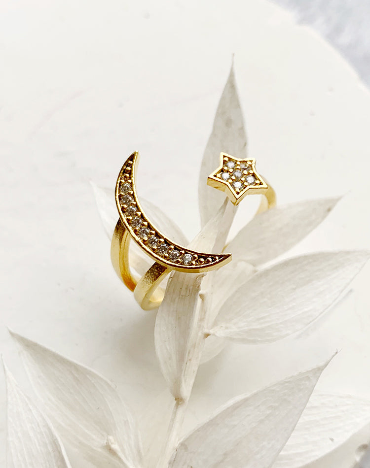 Arise - Star and Moon Adjustable Ring
