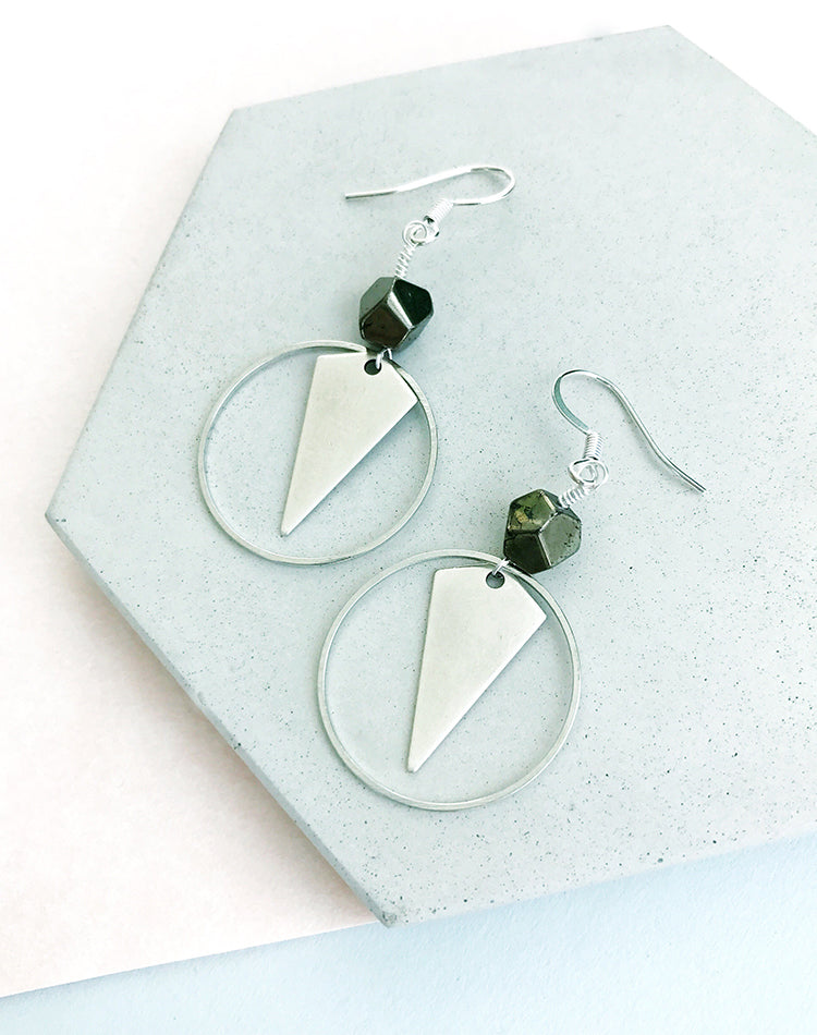 Diana Hematite Arrowhead Drop Earrings