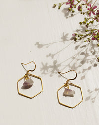 Dionysus Amethyst Hexagon Earrings