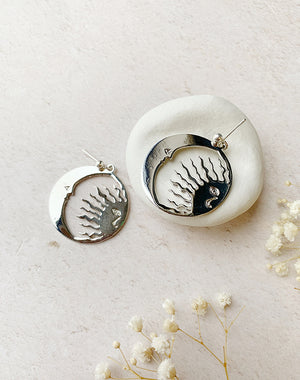 Dream - Sun and Moon Face Earrings