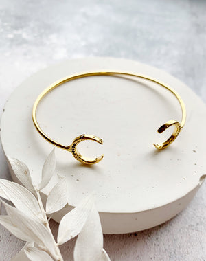 Dual Moon - Crescent Moon and Black Crystal Gold Bangle