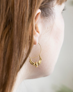 Soar Eagle Bird Hoop Earrings