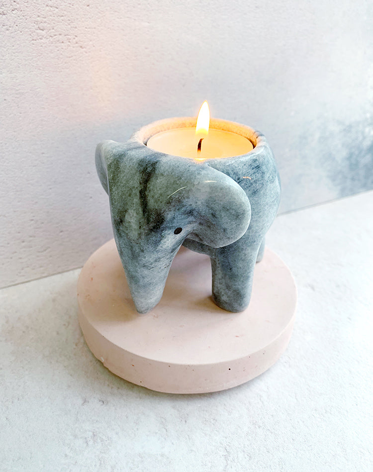 Grey Marble Elephant Tealight Holder