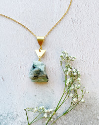Esmeralda Raw Emerald Triangle Necklace