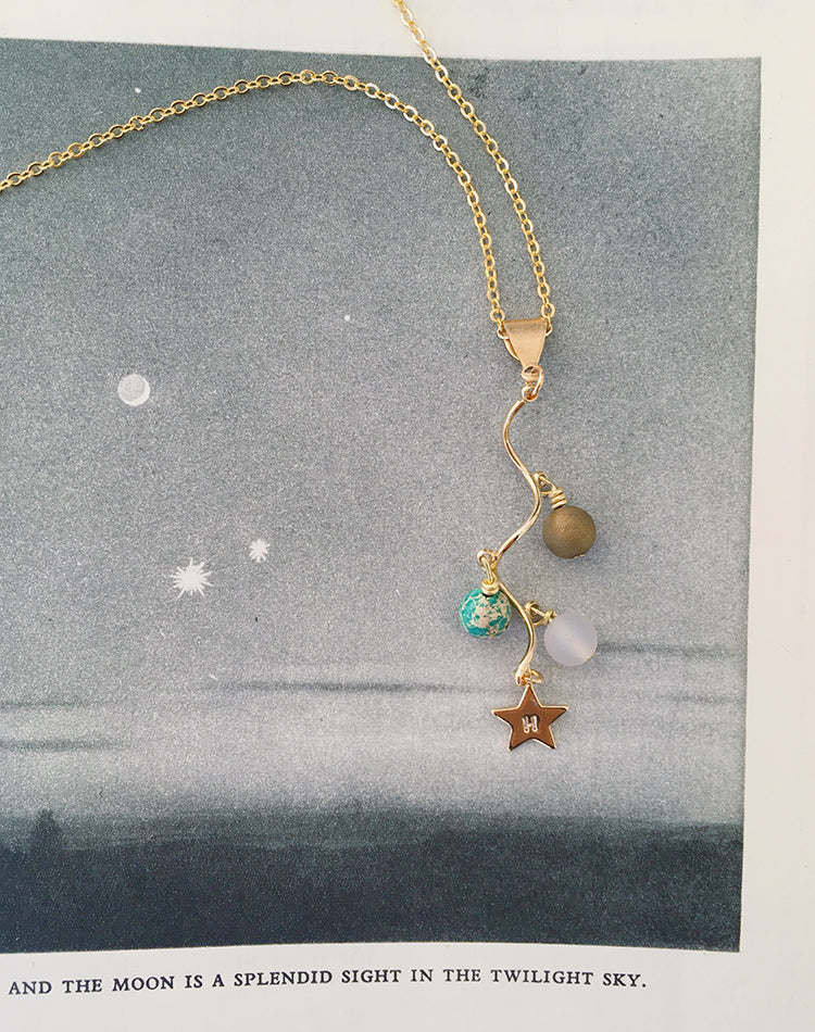 In A Spin - Sun, Earth & Moon Orbit Necklace