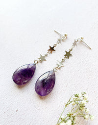 Fallen Stars Amethyst Star Drop Earrings