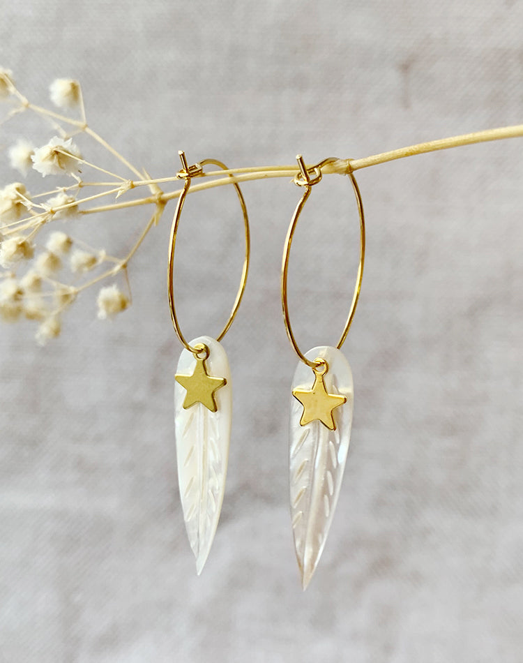 Flock Mother of Pearl Feather & Star Earrings
