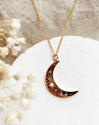 Shine: Moon & Faux Opal 14k Gold Fill Star Necklace