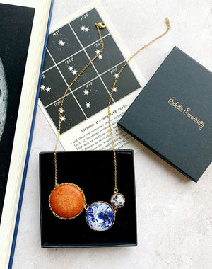 Gravity Sun, Earth and Moon Necklace