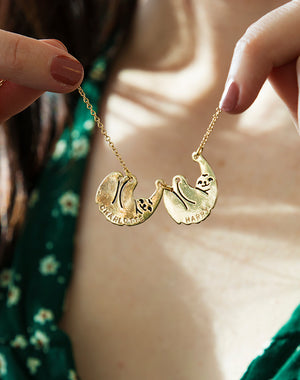 Hang In There - Personalised Mummy & Baby Sloth Necklace