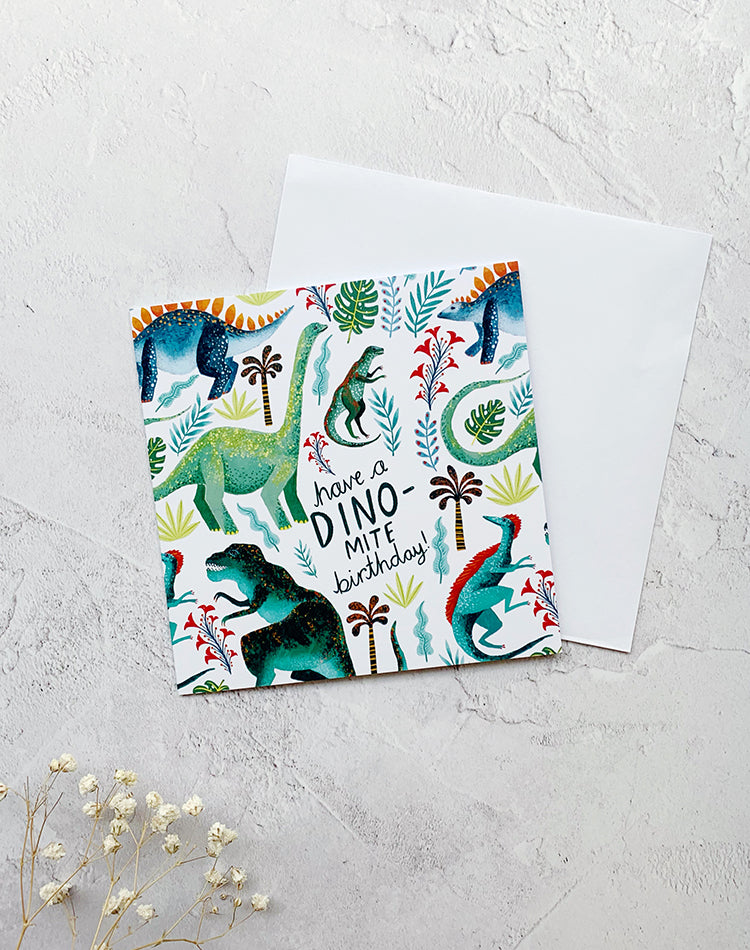 Have A Dino-Mite Birthday Dinosaur Greetings Card by Papio Press
