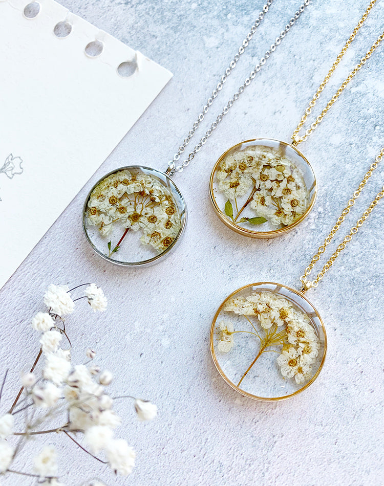 Bud - Pressed Hawthorn Flower Necklace