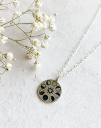Helios - Moon Phase Sterling Silver Disc Necklace