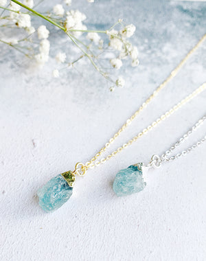 Hera Personalised March Birthstone Aquamarine Necklace
