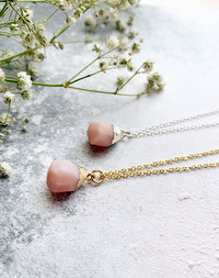 Hera Personalised October Birthstone Pink Opal Necklace