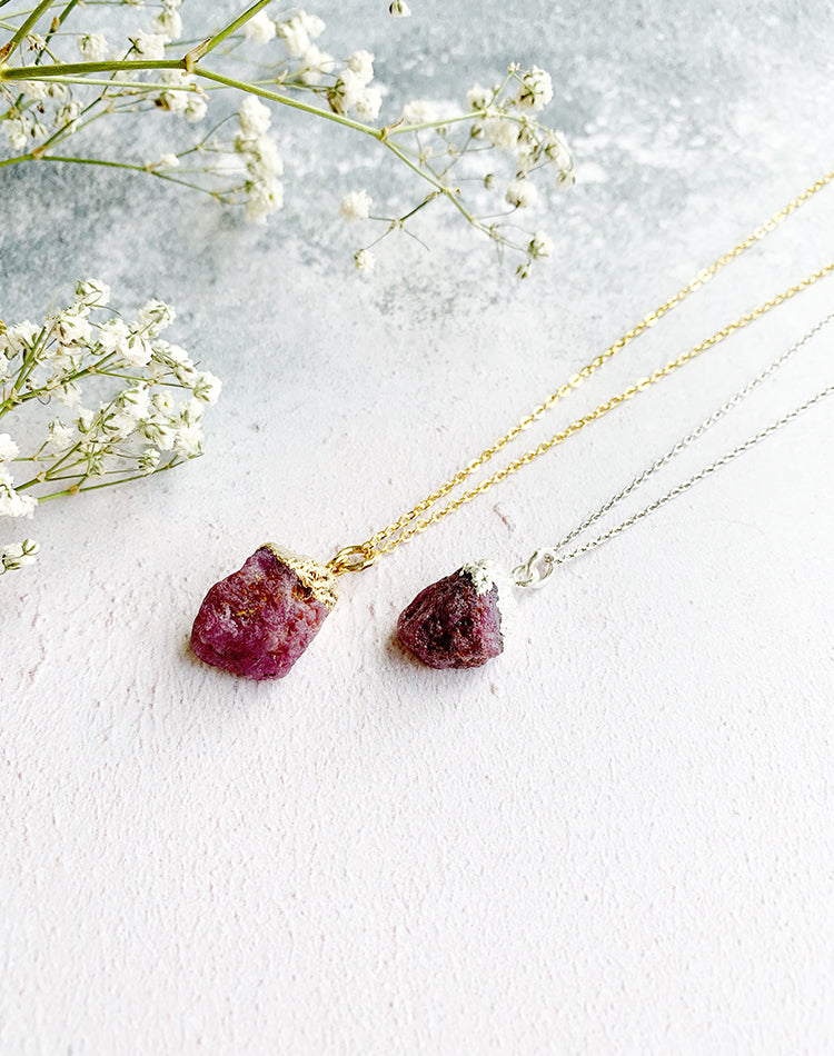 Hera Personalised July Birthstone Ruby Necklace