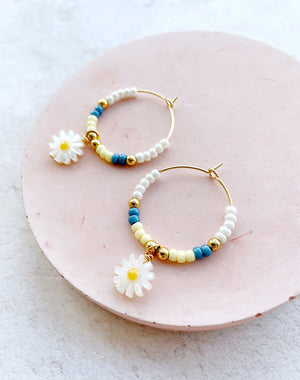 Here Comes The Sun: Daisy & Bead Hoop Earrings
