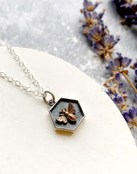 Hive- Sterling Silver Bee Hexagon Necklace
