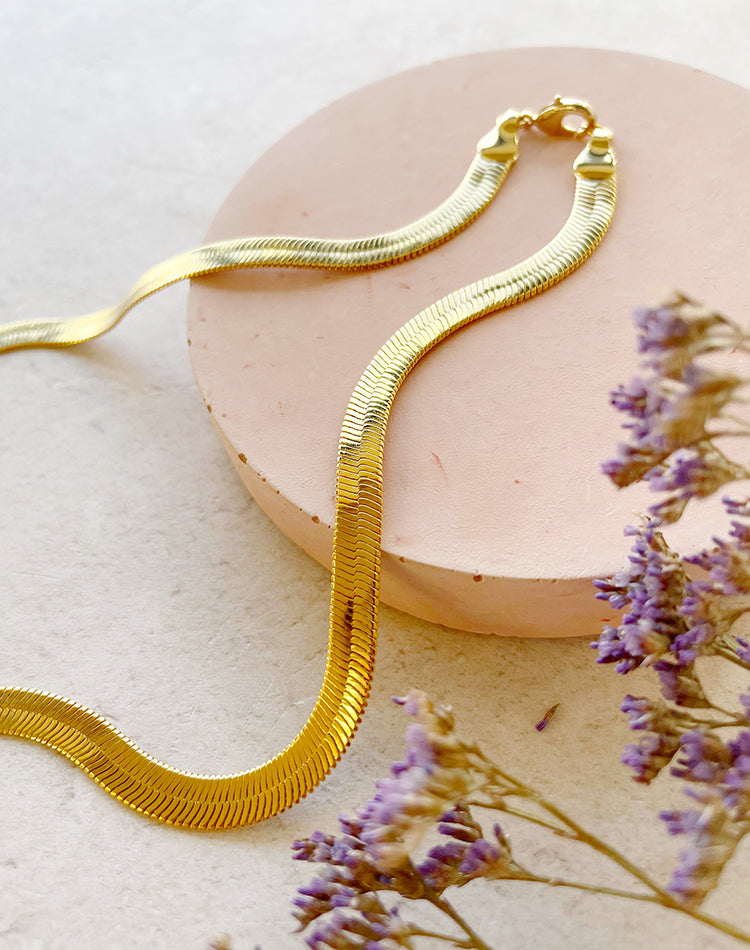 Layered collection - Gold plated Flat Snake Chain