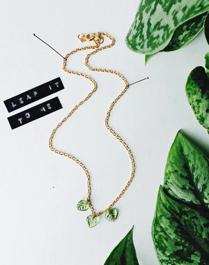 Leaf It To Me Glass Vintage Leaves Necklace