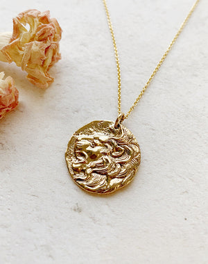 Leo - Bronze Lion Pendant on Gold Fill Chain